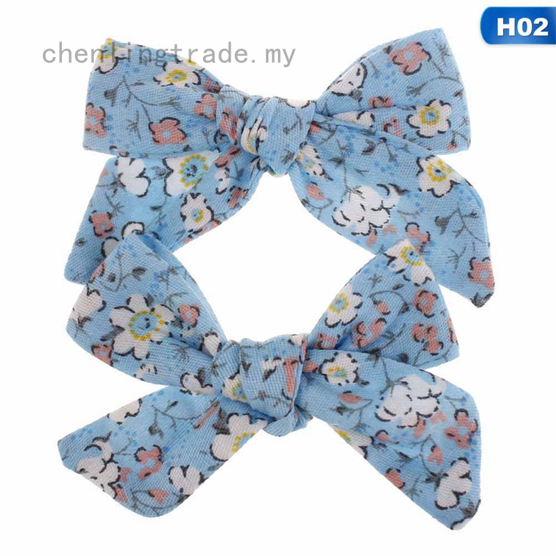 2PC Baby Girls Flower Print Bow Hair Clip Cotton BB Hairpin Hair Accessories New