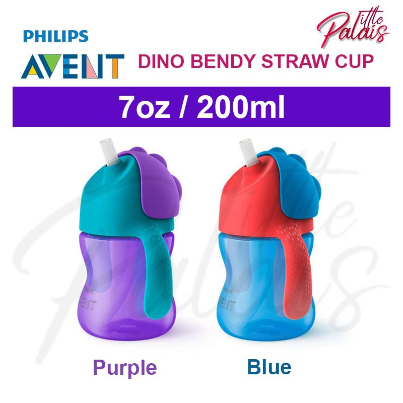 PHILIPS AVENT BENDY STRAW CUP 200ML 9 MONTHS ASSORTED BLUE PURPLE DINOSAUR