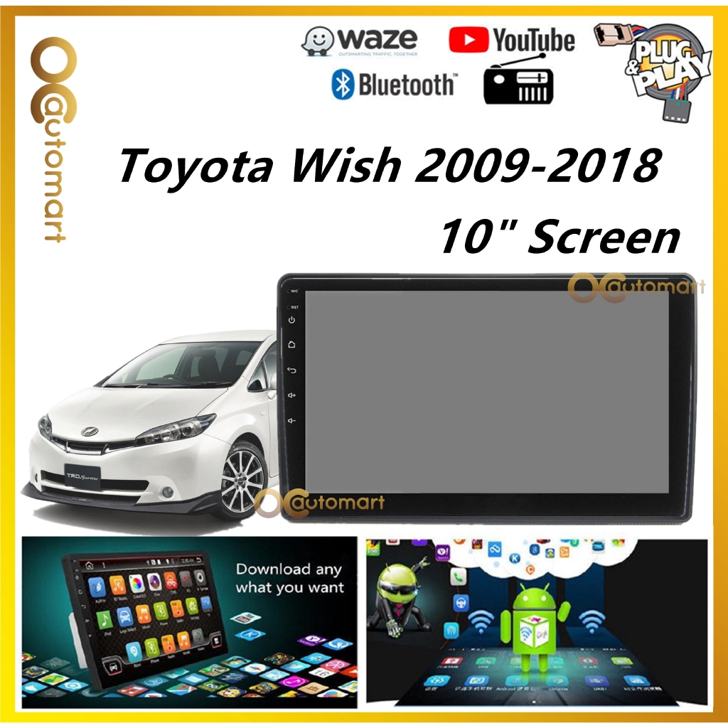 """Toyota Wish 2009-2014 Big Screen 10"""" Plug and Play Android Player Car Stereo With WIFI And TouchScreen"""