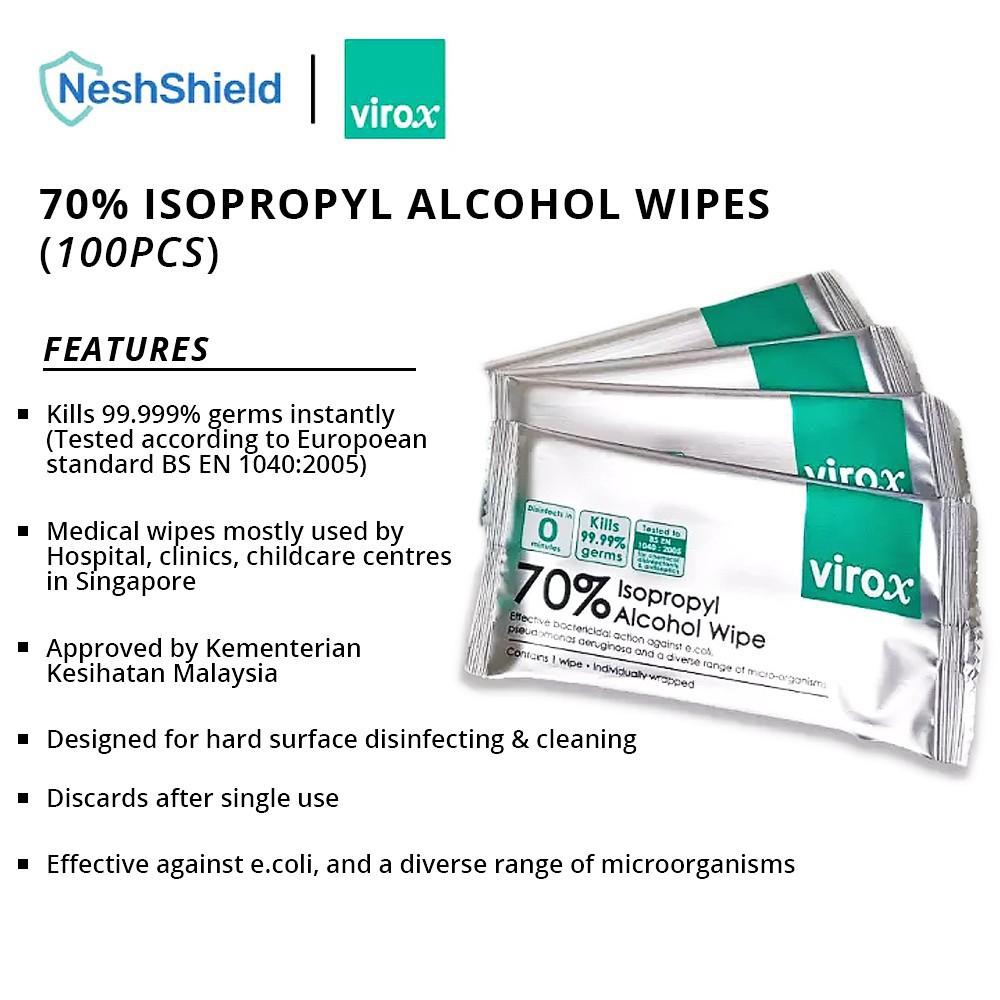 [Ready To Ship] Neshshield Virox Alcohol Wipes Antibacterial Tissues 100PCS (Loose Pack)