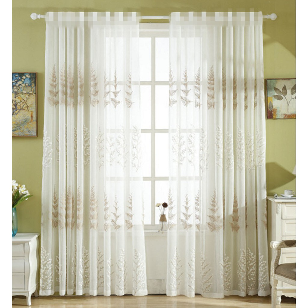 Hook Pastoral Living Room Embroidered Window Sheer Curtains Fashion Floral Voile Modern Simple Faux Linen Curtains
