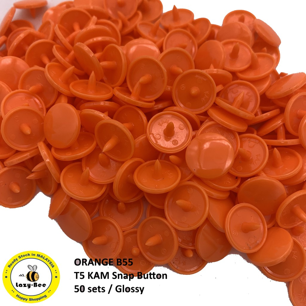 KM135: ORANGE B55: T5 KAM Glossy Snap Button Plastic Fastener DIY, 50 Sets  [K2]
