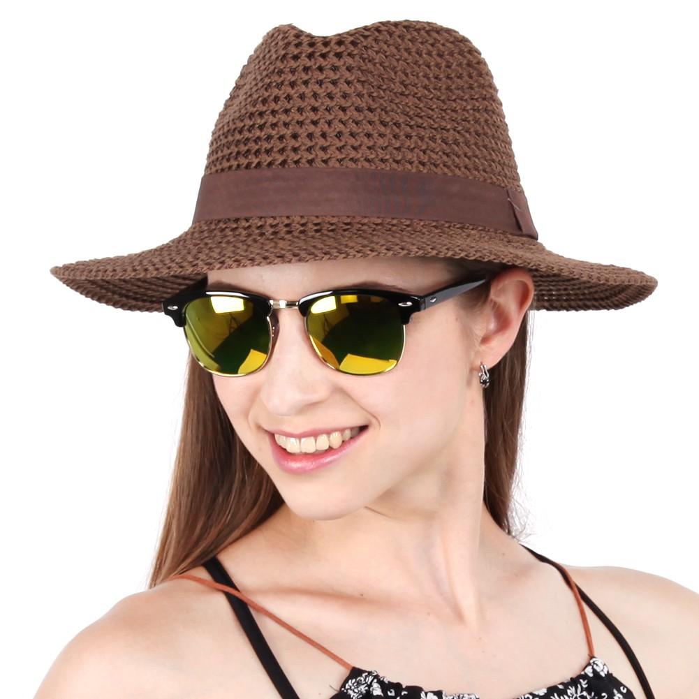 64a521f25 Womens Packable Summer Sun Beach Straw Hat Wide Brim Floppy 58 cm
