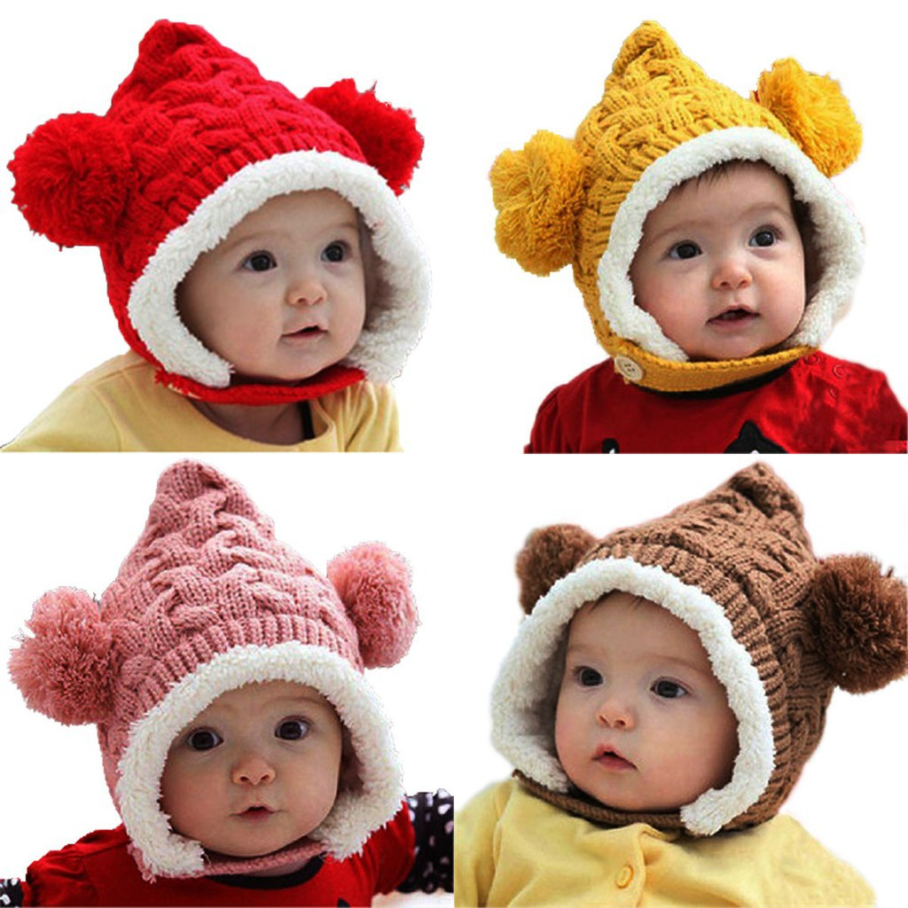 Cute Toddler Kids Girl/&Boy Baby Winter Warm Crochet Knit Hat Earmuffs Beanie Cap