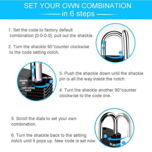 4 Digit Combination Locker Suitcase Luggage Metal Code Password Padlock