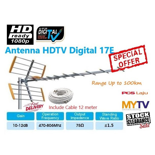 Antenna 17E TV Digital DVB T2 UHF MYTV Myfreeview TV 10db - 12db gain