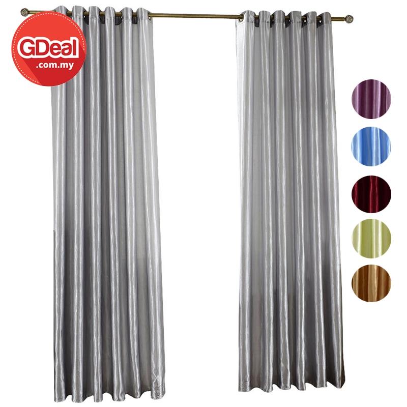 GDeal【Thick Curtains】Langsir TebalLiving Room Satin Blackout Window Bottom Curtain Bedroom Blind Langsir (100CM x 250CM)