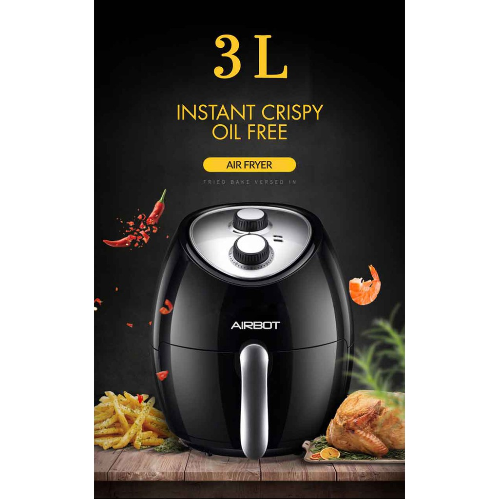 Airbot Air Fryer AF100 Oil Free Single Pod Non-Stick Teflon Timer Kitchen  Aid Healthy Cooker (3L / 12 Months Warranty) | Shopee Malaysia
