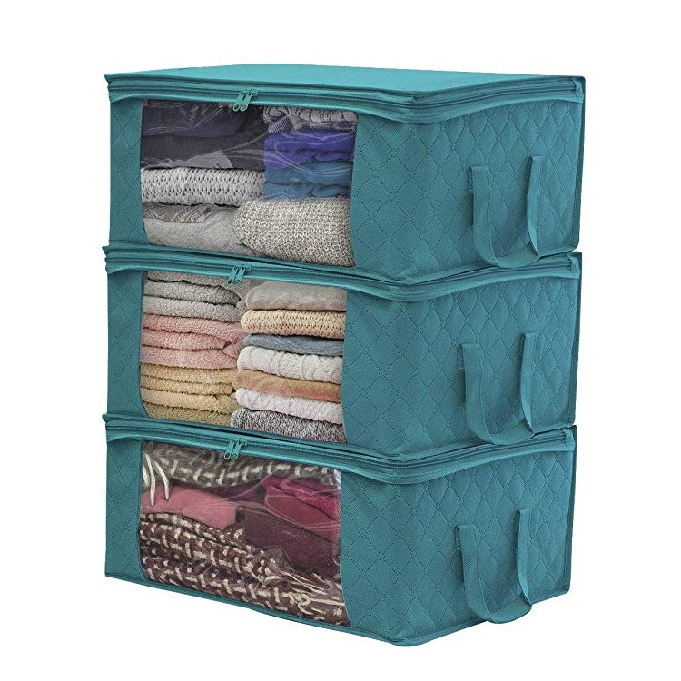Eisho Non Woven Foldable Clothes Organizer Home Storage Box Quilt Storage Bag Lake Blue