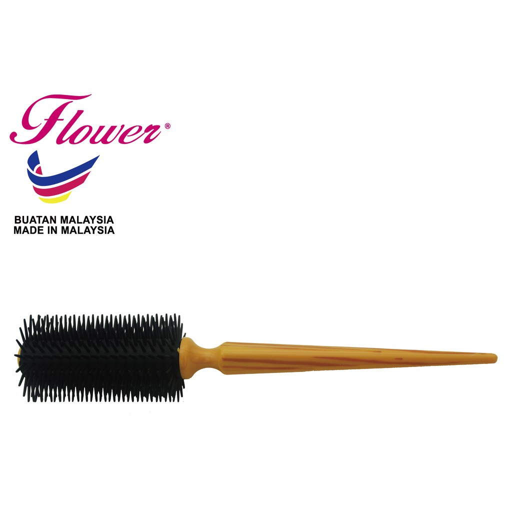 Flower Brush Wood Print with Black PE Bristle Hair Styling Made in Malaysia (Sikat/Berus Rambut/Balu