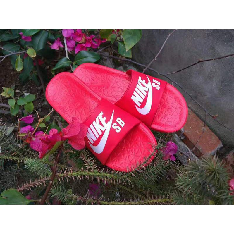new concept b0b38 8f777 【discount】Latest Recommended2019 Nike SB Benassi big letter LOGO slippers  red and white Size: 36-45