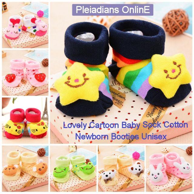 [ READY STOCK ]  Lovely Cartoon Baby Sock Shoes Cotton Newborn Booties Unisex Infant Kid Boot Walker Jualan Murah Kasut