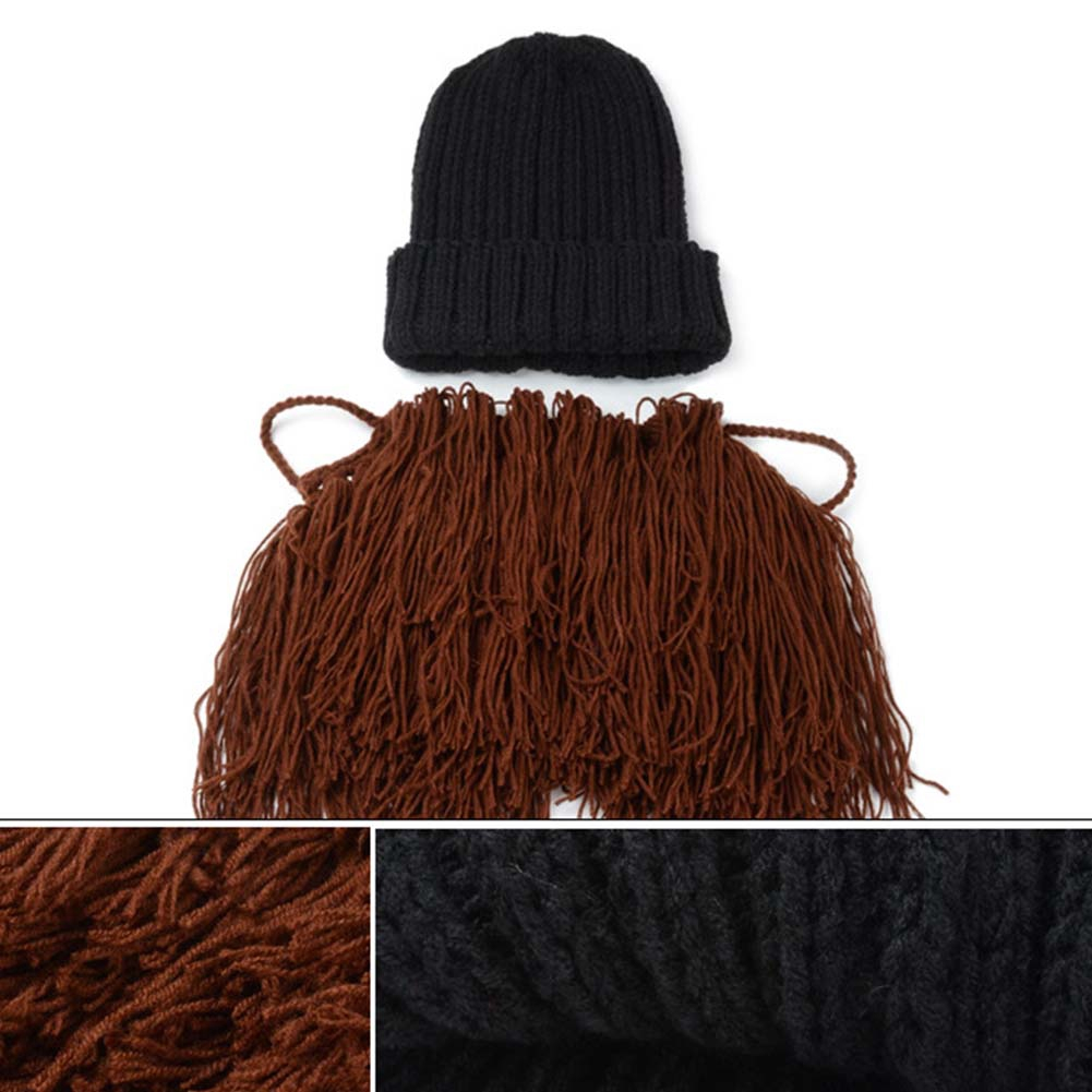 51dfb9ff1 New Winter Adult Warp Knitting Hat Funny Bearded Face Knitted Mask Xmas