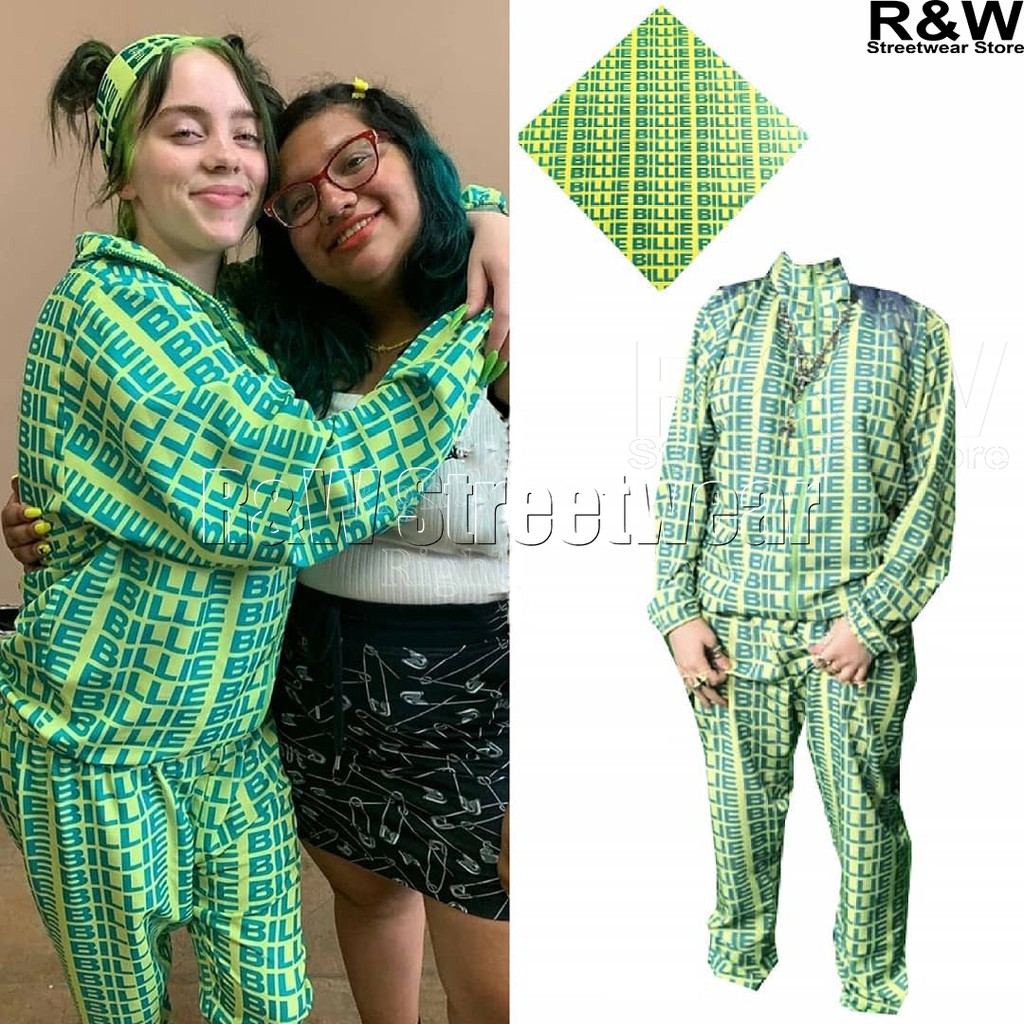 Billie Eilish Green Hoodie Pants Streetwear Bad Guy New Letter Same Paragraph Shopee Malaysia