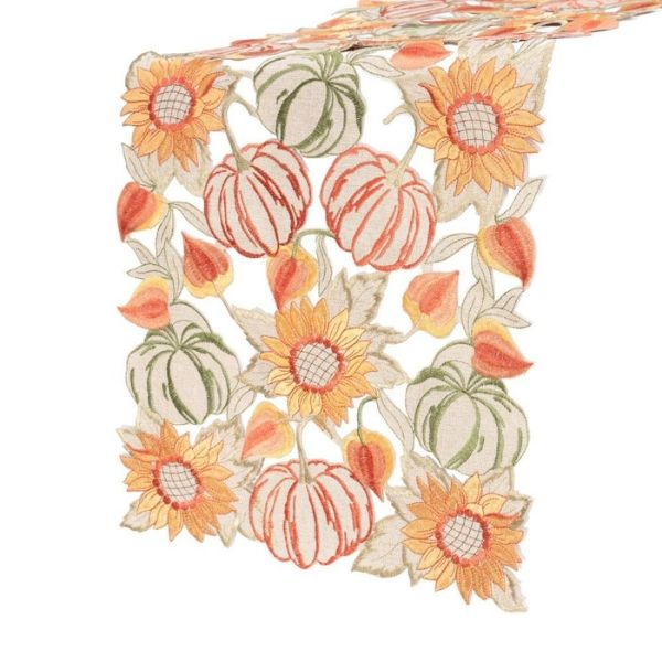 "Sunflower Embroidered Full Cutwork Table Runner/Dresser Scarf 35x160cm/14x63"". Sunflower Pumpkin Floral (Multi-Color)"