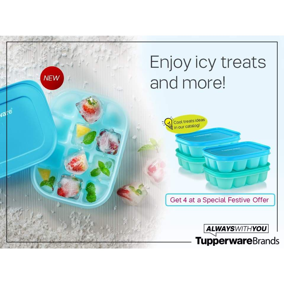 🔥Ready Stock 🔥Tupperware  Chill Freez Ice Tray Set (Blur or Green Color) - 160ml(1)