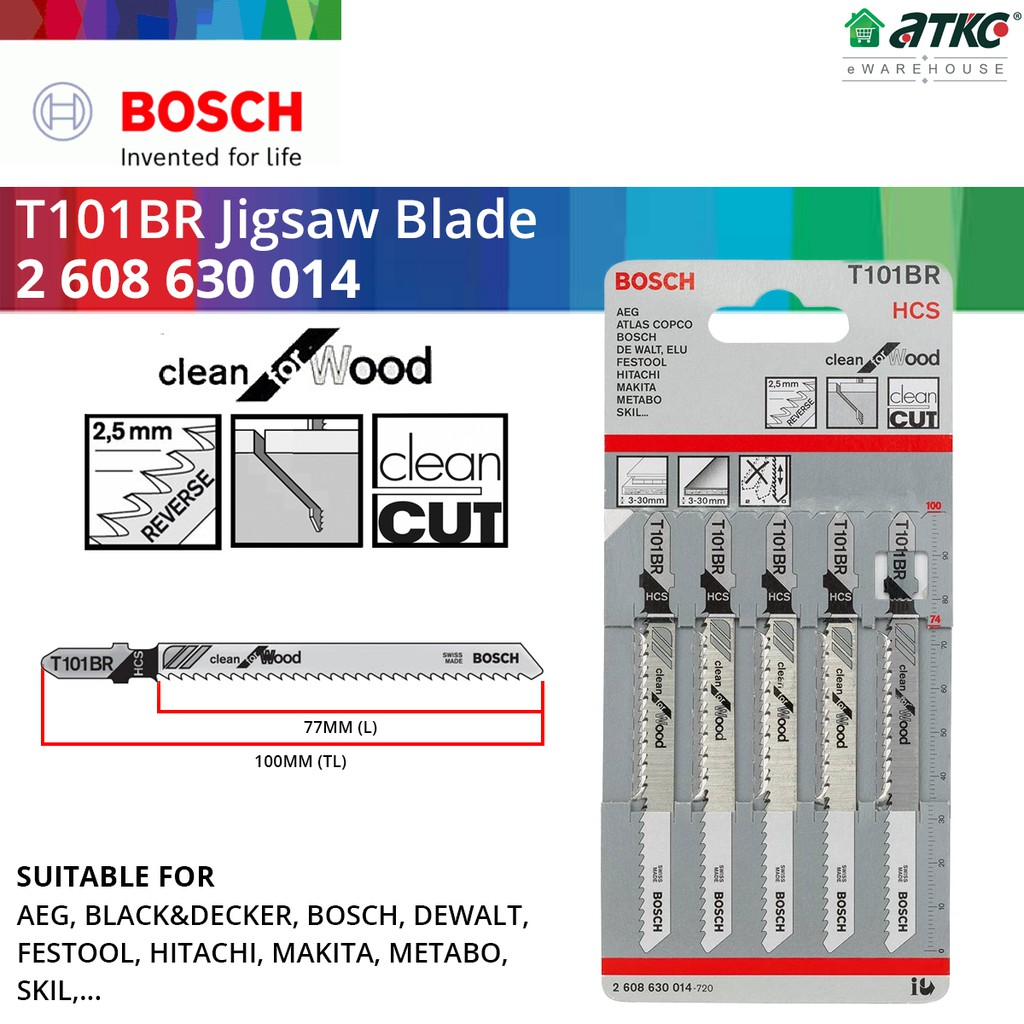 BOSCH T101BR Jigsaw Blade For Clean Straight Cut Wood x 5PCS (2608630014)