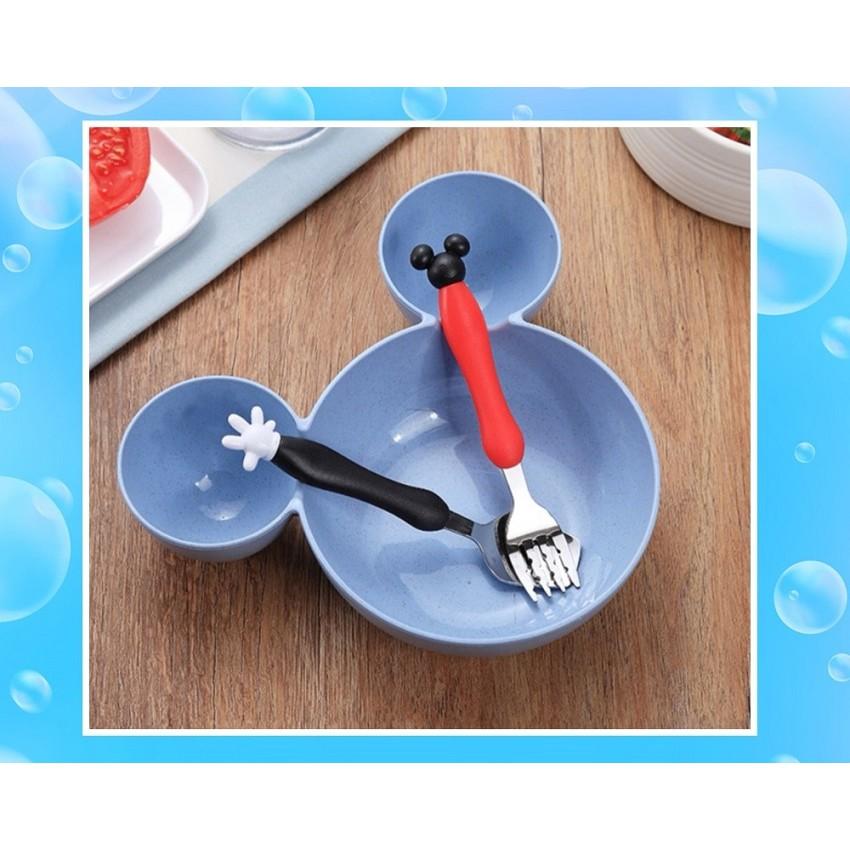 [ READY STOCK ]  Wheat Straw Cute Cartoon Mickey Minnie Fork Spoon Bowl Set Kid Mangkuk Plate Kitchen Jualan Murah Baby