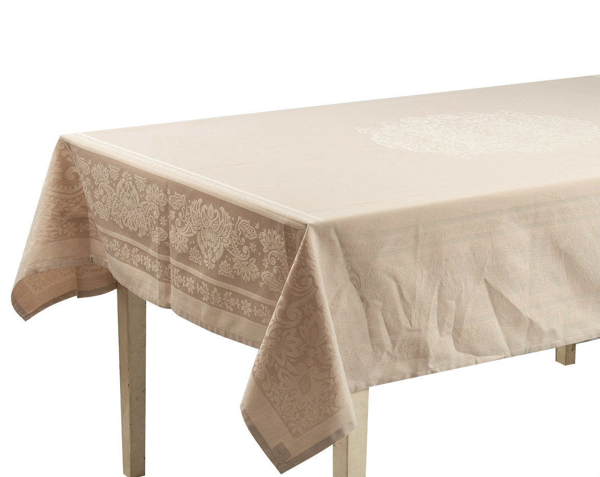 Yarn Dyed Fabric Weaving With Different Color Tones Square/Rectangle Tablecloth. Polycotton.  Multi-Size (Cream)
