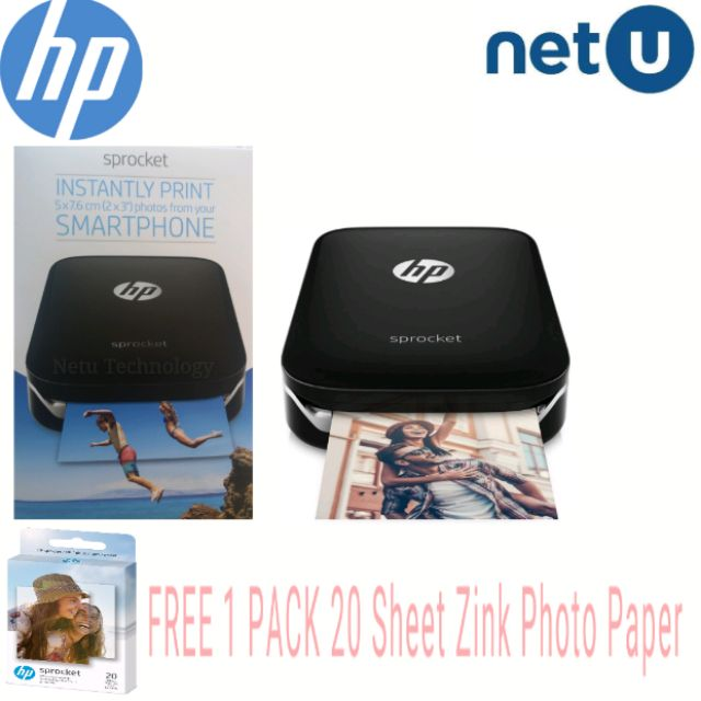 HP Sprocket Bluetooth Photo Printer Black (Z3Z92A)Free 1Pack 20Sheet Zink  paper