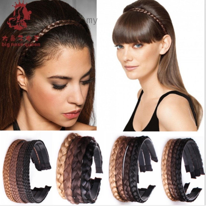 Fashion Women Girl Hairband Headband Braid Wig Lady Hair Clasp Head Accessories Shopee Malaysia