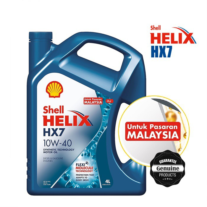 [Pasaran Malaysia] Original Shell Helix HX7 10W-40 SN PLUS Semi Synthetic Engine Oil (4L)