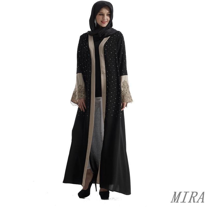 00b009b716b47 Muslim Abaya Kaftan Lace Islamic Maxi Women Caftan Jilbab Robe Arabic  Cardigan R