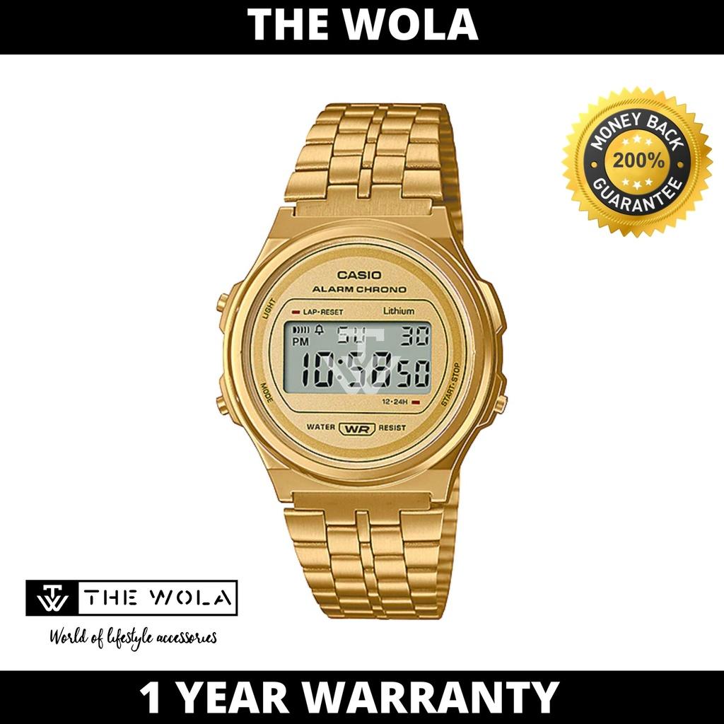 Casio Women's Digital A171WEG-9ADF Stainless Steel Band Gold Watch