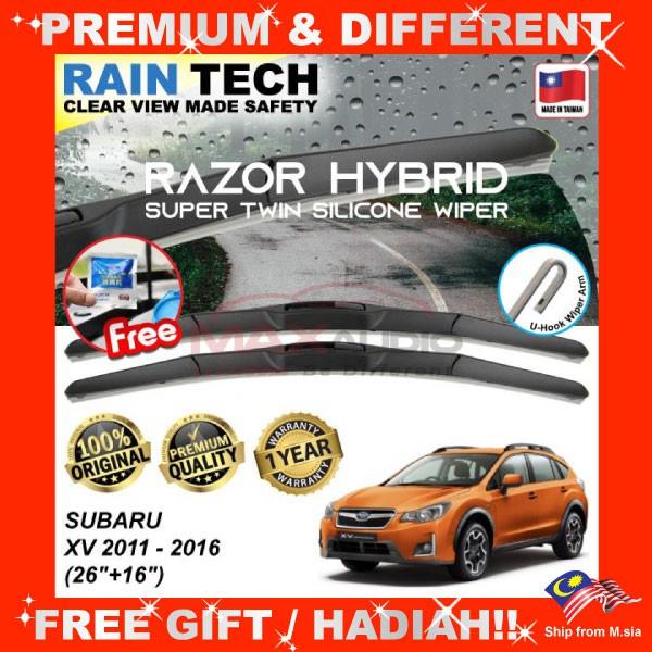 [FREE Gift] SUBARU XV 2011 - 2016 (26/16) RAIN-TECH RAZOR HYBRID Silicone Aerodynamic Clean Wipe Safety Wiper Blade