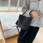 GDeal Large Capacity Adjustable Shoulder Solid Colour Strap Shoulder Sling Bag Women Pu Bucket Bag