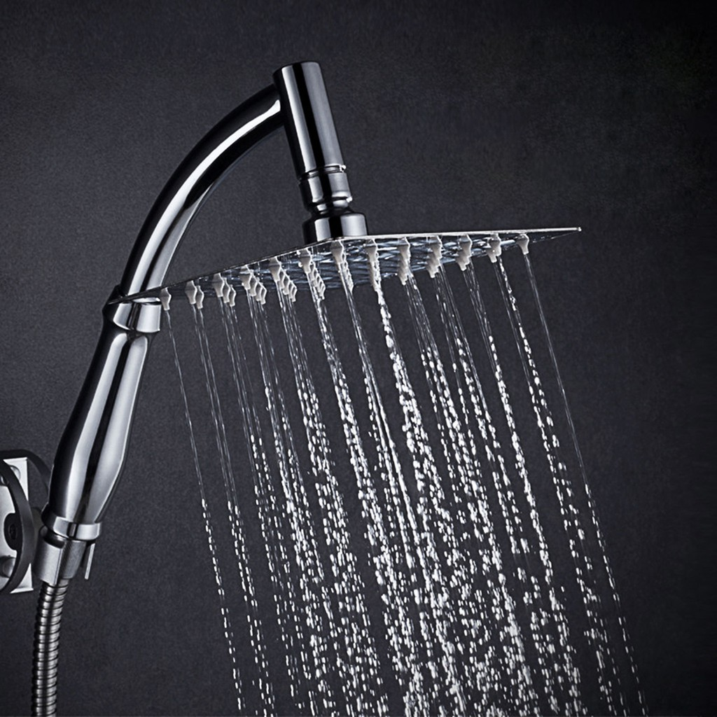 Extra Large 8 Square Shower Head Stainles Steel Chrome Water Rainfall Overhead