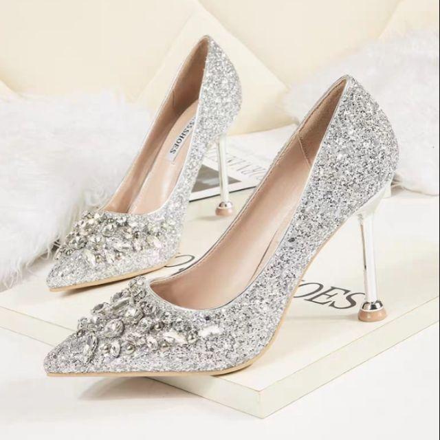 W14 Po Women Wedding Heels Full Glitter Exclusive Diamond Kasut Pengantin Perempuan Shopee Malaysia