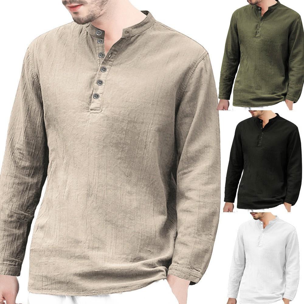 Men/'s Baggy Linen Long Sleeve Cotton Retro V Neck T Shirts Blouse Tops Popular