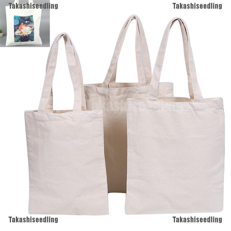 ae353416463 Takashiseedling Creamy White Natural Cotton Plain Canvas Shopping Shoulder  Top Tote Shopper Bag