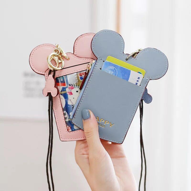 Cartoon Mickey Card ID Holders Credit Card Case PU Coin Purse Lanyard Keychain