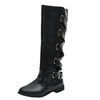 9bf4638ea05 Women Ladies Shoes Buckle Roman Riding Knee High Cowboy Boots Martin Long  Boots