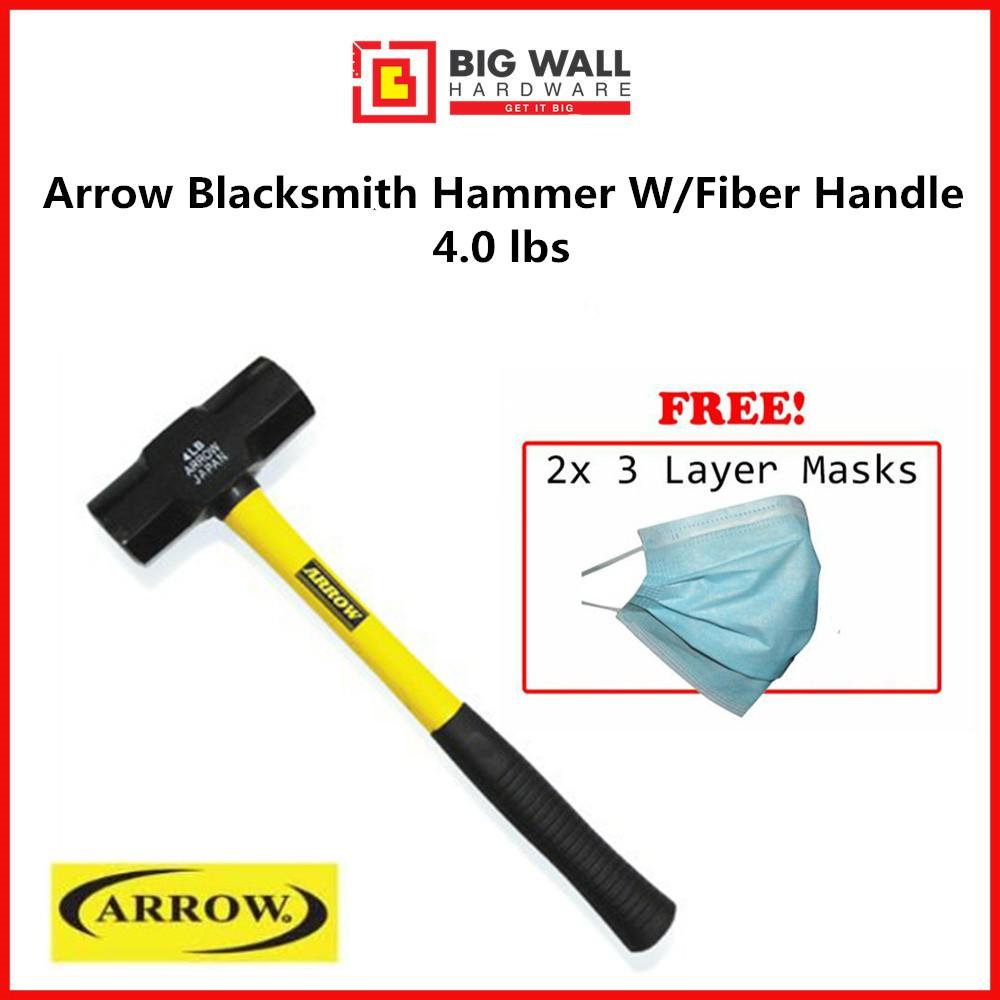 ARROW Blacksmith Hammer W/Fibre Handle 4lbs *Big Wall Hardware from Malaysia