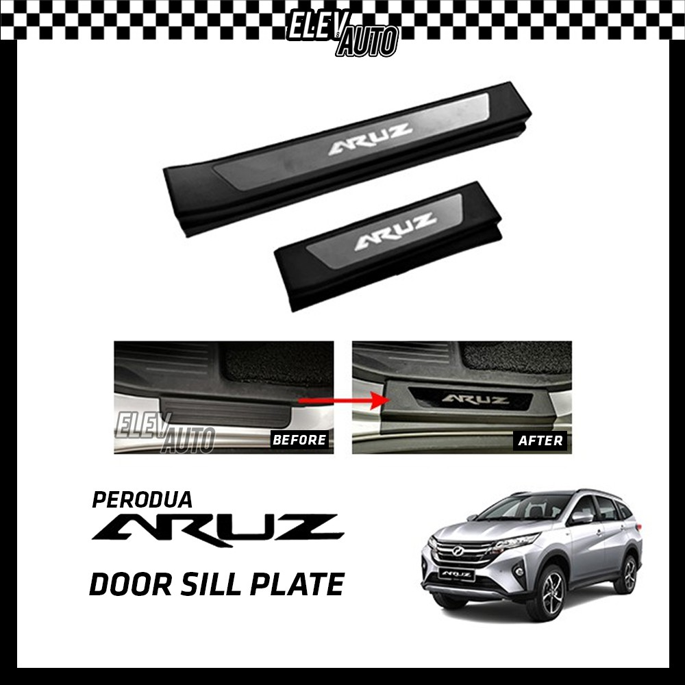 Perodua Aruz Black Door Side Sill Step Plate