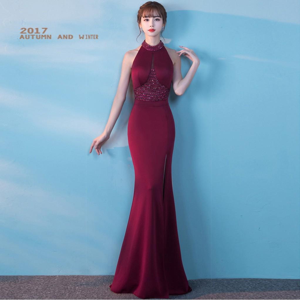 6c542c93b6 8637# evening dress, wine red toast, long neck dress, banquet slim, fish  tail.