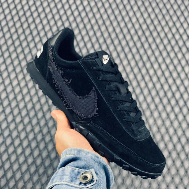 NIKE WAFFLE RACER 2 X CDG BLACK SUEDE RETRO RUNNING SHOES DD34470A LACE-UP CLOSURE SHOES STYLE PREMIUM 40-44 EURO