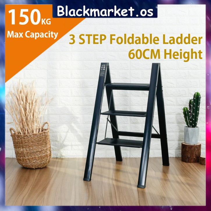 2/3 Step Foldable Steel Ladder (Max Load 150KG) Steps Ladder Folding