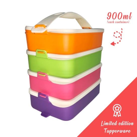 Tupperware Click To Go Picnic Container 900ml Purple Orange Pink Green
