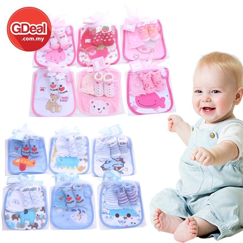GDeal Infant Newborn Baby Soft Cartoon Socks Cotton Gloves Set With Bibs Newborn Baby Gift Set (Random Design)