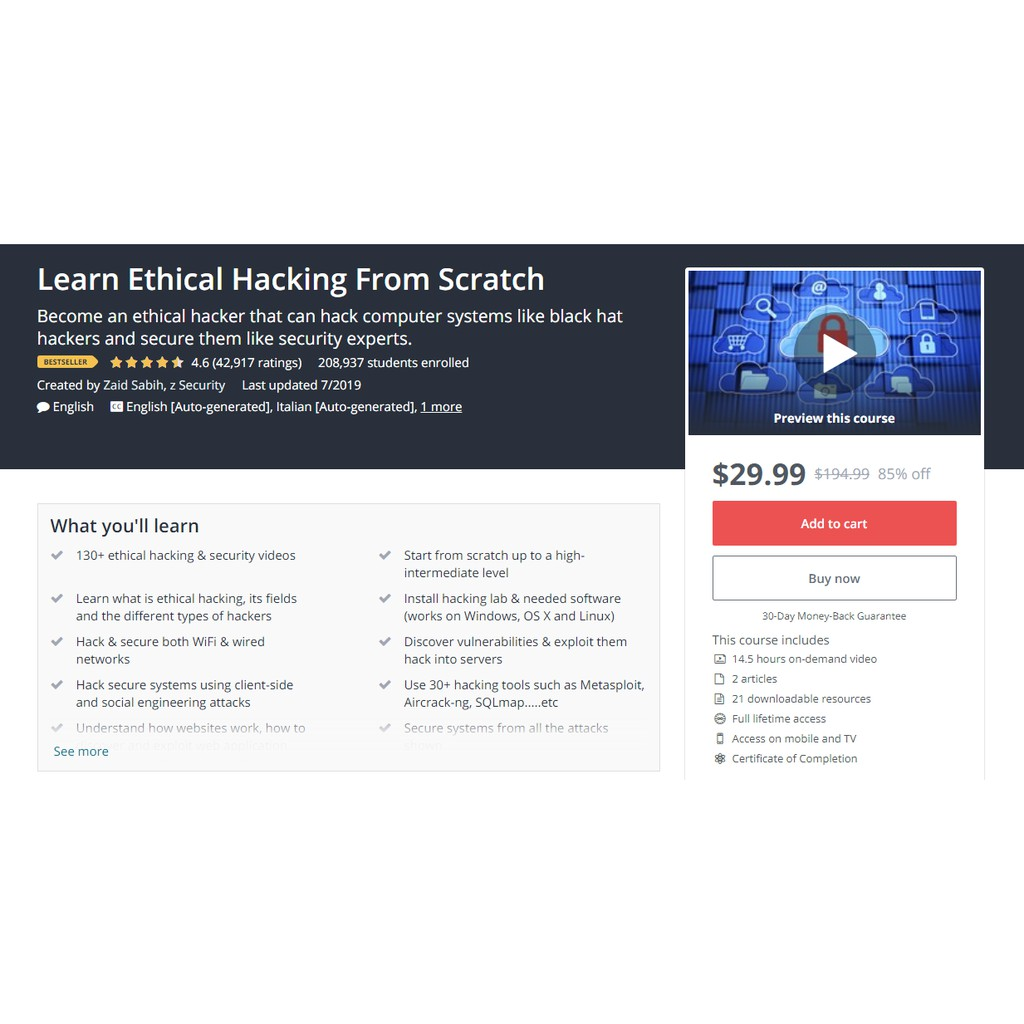 Udemy - Learn Ethical Hacking From Scratch 2019 | Shopee