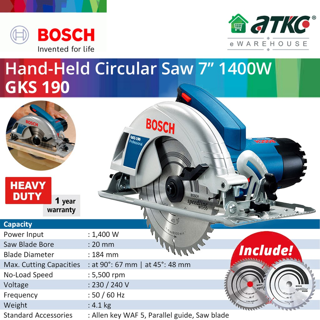 BOSCH GKS 190 Hand-Held Circular Saw 7'' 1400W (06016230L9)