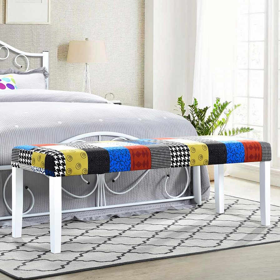 DORA solid wood frame bench chair in fancy fabric