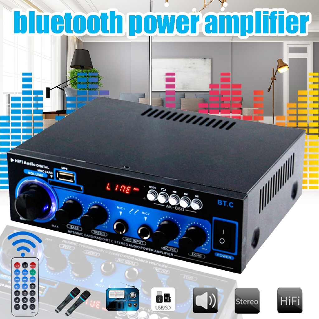 1000W 2CH 110V Bluetooth HiFi  Home Theater Audio Receiver Mixing Amplifier