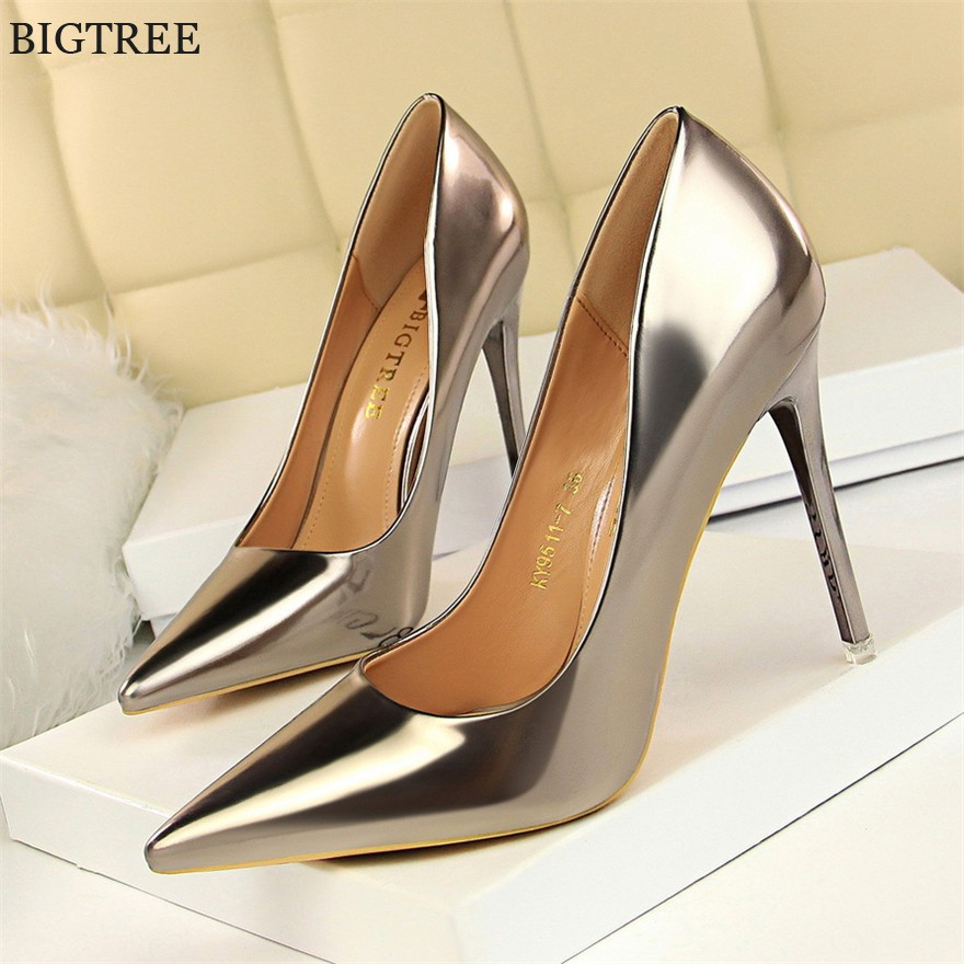 8caec57299 Patent Leather Thin Heels Office Shoes New Arrival Women Pumps Fashion High  Heels Shoes Pointed Toe