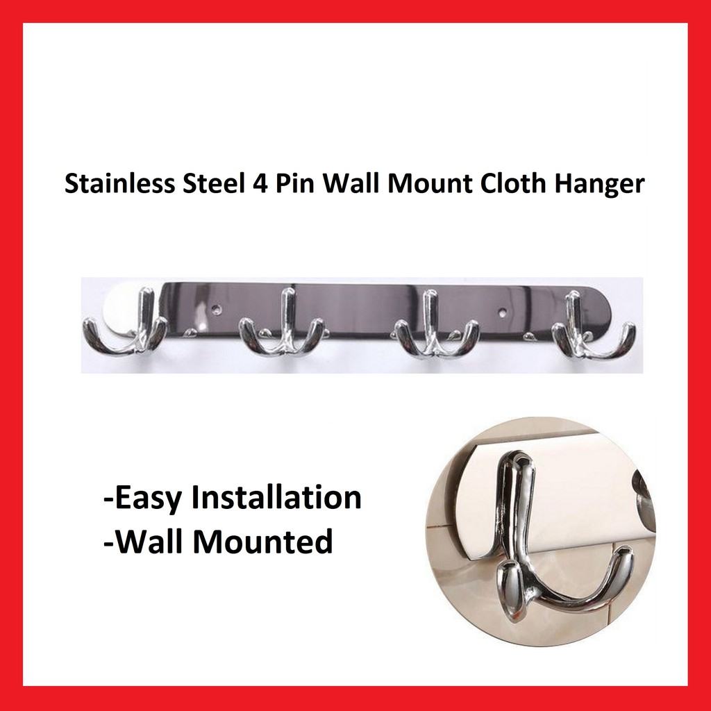 Stainless Steel Wall Mount 4 Pin Cloth Hanger - ZT3144