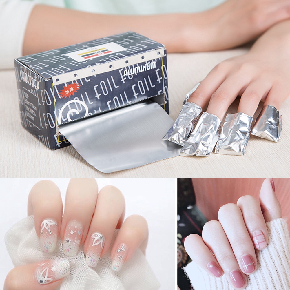 Aluminium Foil Nail Wraps Soak Off Remover Gel Polish Removal Fake Nails Clean Makeup Tool